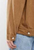 Missguided - Borg collar oversized denim jacket - tan