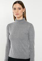 Missguided - Stripe grown on neck top - grey