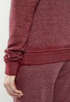 GUESS - Long sleeve burnout top - burgundy
