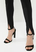 Missguided - Diamante belted slit front cigarette trouser - black