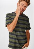 Cotton On - Retro wide stripe Dylan tee - khaki & charcoal