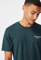 Cotton On - 5 Boroughs chest Tbar text T-shirt - teal