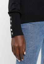 Vero Moda - Milda long sleeve rollneck button knit - black