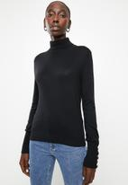 Vero Moda - Milda long sleeve rollneck button knit - black