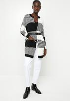 ONLY - Kasey long sleeve long cardigan knit - black & white
