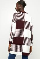 ONLY - Kasey long sleeve long cardigan knit - white & burgundy