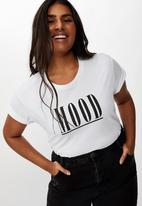 Cotton On - Curve graphic tee mood - white