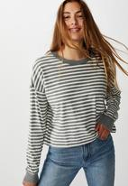 Cotton On - Harris crew neck long sleeve top - grey & cream