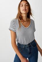 Cotton On - Karly short sleeve V-neck top - black & white