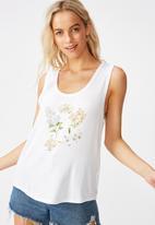 Cotton On - Tbar parker graphic tank top botanicals - white