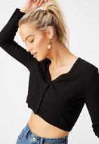 Cotton On - Rhys button through rib henley long sleeve top - black