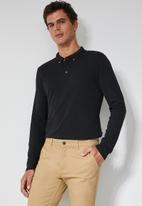 Superbalist - Pique slim fit golfer - black