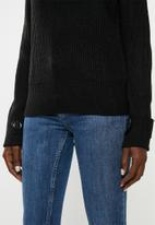 Jacqueline de Yong - Tonic long sleeve boatneck pullover knit - black