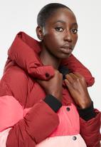 ONLY - Mari blocked padded nylon jacket - pink & burgundy