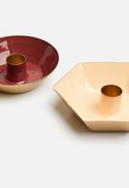 Sixth Floor - Set of 2 candle holders - rust & peach