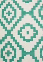 Sixth Floor - Tribal printed runner - teal blue