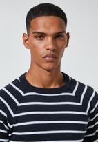 Superbalist - Nautical stripe crew neck knit - navy & white
