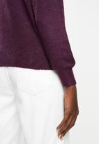Jacqueline de Yong - Cora long sleeve Hi-neck pullover knit - purple