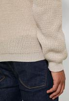 Superbalist - Chunky textured deep v-neck knit - beige