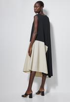 Superbalist - Combo fabric A-line dress- black & stone