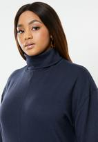 edit Plus - Knitted turtle neck top - navy