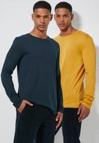 Superbalist - Plain crew neck 2 pack tees - navy & yellow
