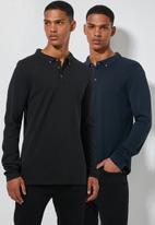 Superbalist - Pique slim fit 2 pack golfers - black & navy