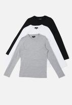 Superbalist - Plain long sleeve crew neck 3 pack tees - multi