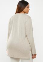 edit Plus - Longer length knit top - beige