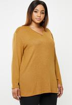 edit Plus - Longer length knit top - yellow
