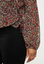 Missguided - Floral tie side peplum crop top - multi