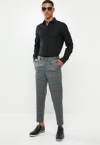 Selected Homme - Jersey tapered cropped pants - grey & black