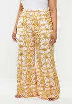 Missguided - Curve chain print satin long leg pj trousers - pink & gold