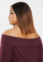 edit Plus - Bardot knit top - burgundy
