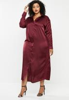 Missguided - Plus lace trim satin maxi shirt - burgundy