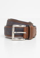 Pringle of Scotland - Selbourne leather belt - navy