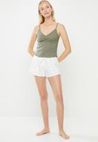 Cotton On - Pointelle sleep tank top vintage bunch ditsy - khaki