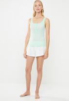 Cotton On - Rib henley sleep tank top - faded mint
