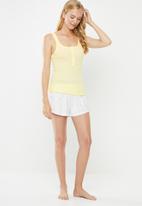 Cotton On - Rib henley sleep tank top - yellow