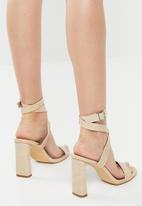 Public Desire - Lydia croc buckle strap block heel - neutral