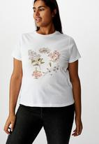 Cotton On - Curve graphic fitted tee - white