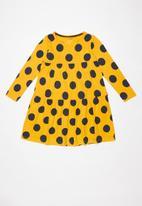 name it - Foluffa long sleeve dress - yellow & navy