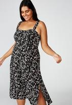 Cotton On - Curve woven melanie midi slip dress millie floral - black & white
