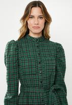 Missguided - Checked belted dress - green & black