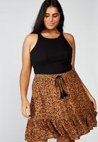 Cotton On - Curve north tiered mini skirt henley animal - black & brown