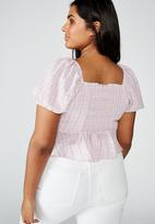 Cotton On - Curve lily rouched short sleeve top clair check - purple