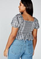 Cotton On - Curve lily rouched short sleeve top clair check - grey & black