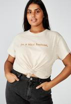 Cotton On - Curve graphic tee be a nice human - grey