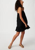 Cotton On - Woven Louise drop hem mini dress - black