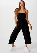 Cotton On - Woven Amanda pinafore jumpsuit - black